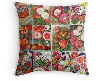 Garden Decor, Flower Cushion, Vintage Flowers, Pillow for Gardener, Cushion for Gardener, Floral Cushion, Garden Cushion, Gardening Pillow