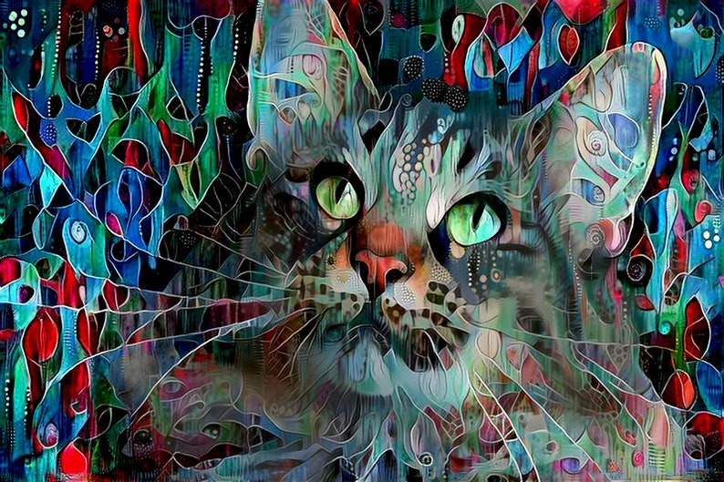 Cat Lady Gift Cat Print Long Haired Cat Cat Artwork Gift image 0