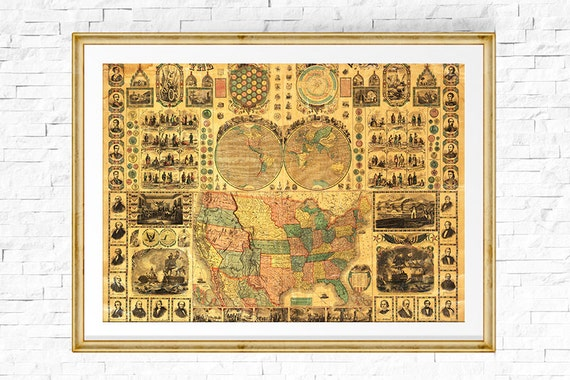 Us Map Print Map Of Usa Vintage Map Usa Map Map Of The Etsy
