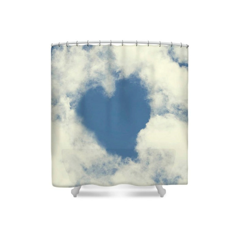 Bathroom Decor Shower Curtain Blue and White Heart Decor image 0