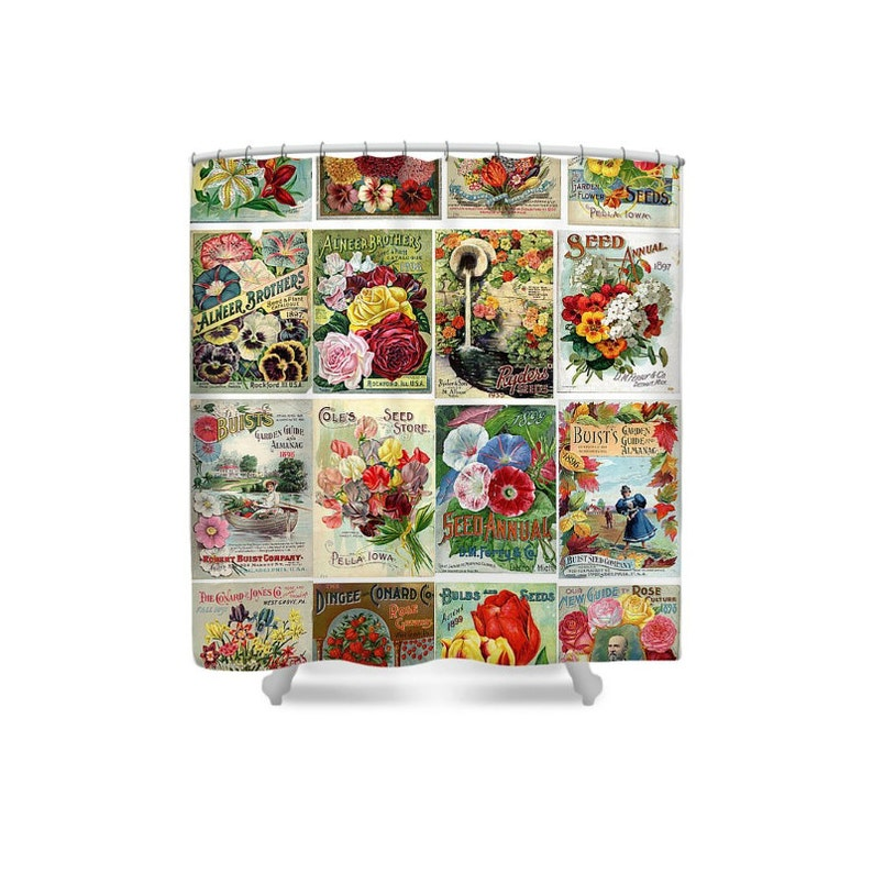 Flower Bathroom Decor Shower Curtain Seed Catalog Garden image 0