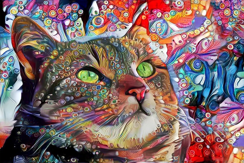 Tabby Cat Art Colorful Wall Art Cat Art Print Psychedelic image 0