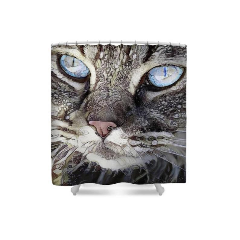 Cat Shower Curtain Cat Mom Cat Decor Cat Lover Gift Cat image 0