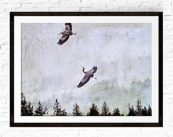 Heron Photograph, Neutral Wall Art, Zen Decor, Heron Painting, Nature Photography, Pacific Northwest, Bird Art, Flying Birds, Nature Prints