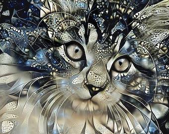 Cat Art Print, Maine Coon Cat, Cat Poster, Cat Decor, Kitten Art, Pet Portrait, Cat Wall Decor, Abstract Art, Cat Print, Silver Art