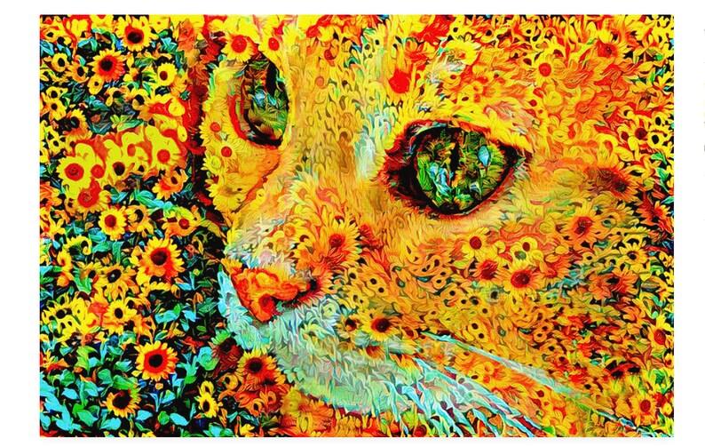 Sunflower Wall Art Flower Cat Sunflowers Sunflower Print image 0