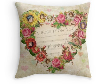 Flower Cushion, Hearts and Flowers, Flower Throw Pillow, Romantic Gift, Gift for Girlfriend, Gift for Her, Vintage Cushion, Newlywed Gift