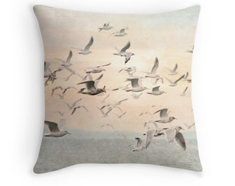 Nature Pillow, Sea Gull Cushion, Pastel Pillow, Beach Decor, Watercolor Cushion, Seagull Throw Pillow,Bird Pillow,Gift for Birder,Bird Decor