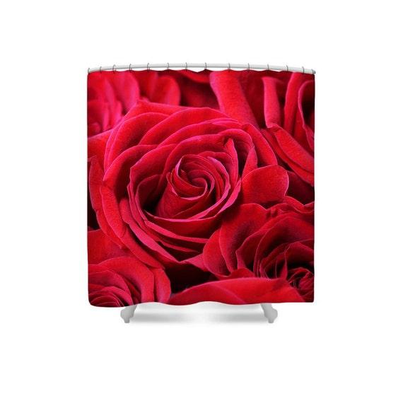 Rideau de douche rideau de douche rouge Roses rouges décor | Etsy