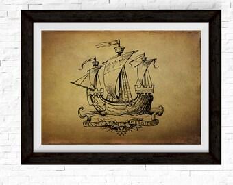 Nautical Decor, Boat Print, Sailing Gifts, Nautical Prints, Ocean Theme Decor, Sailboat, Sailing Print, Sail Boat Art, Wooden Boat Print