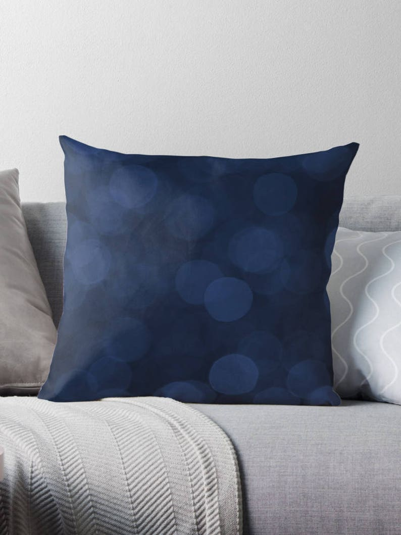 Dark Blue Pillow Navy Cushion Abstract Decor Blue Throw image 0