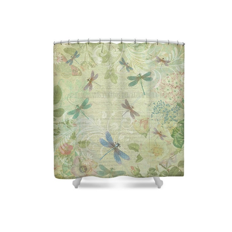 Yellow Bathroom Shower Curtain Dragonfly