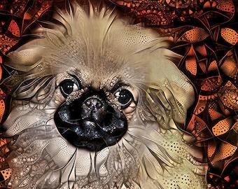 Pekingese Dog Art, Pekingese Print, Pekingese Puppy, Puppy Art Print, Pekinese Art, Abstract Dog Art, Colorful Dog Art, Pekingese Mom