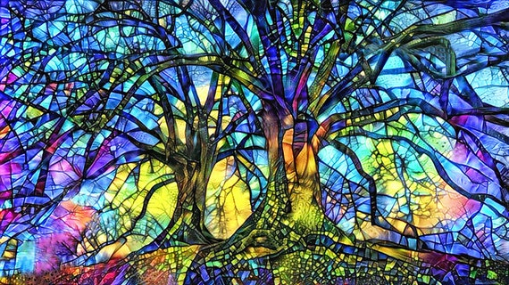 Tree Of Life Art Print Stained, Stained Glass Trees Images