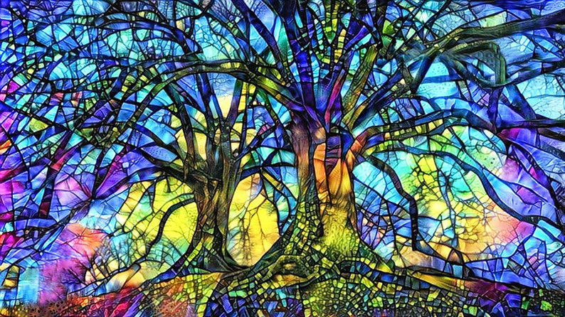 Tree of Life Tree Art Print Stained Glass Trees Abstract image 0