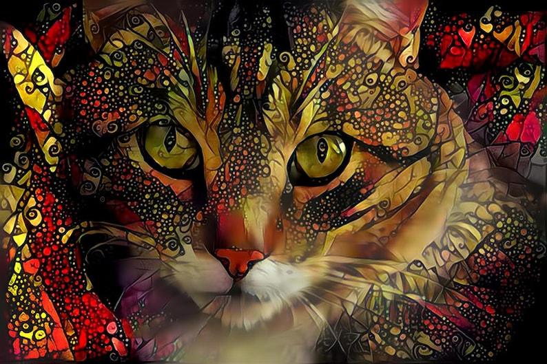 Cat Ragdoll Face Watercolour  Print Canvas Premium Wall Decor Poster