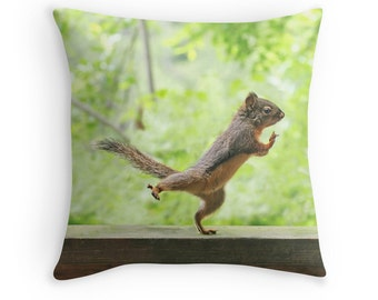 Yoga Cushion, Yoga Pillow, Yoga Studio Decor, Yoga Gift, Tai Chi, Squirrel Gift, Funny Pillow, Funny Cushion, Wildlife Pillow