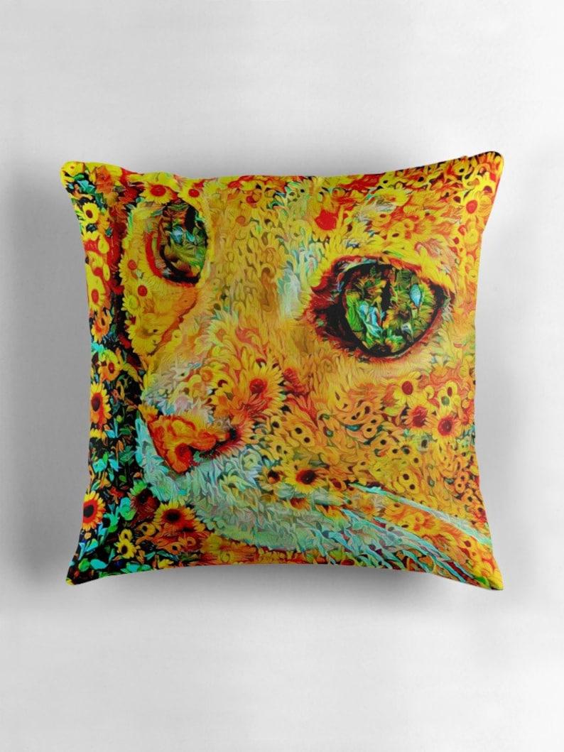 Ginger Cat Cat Pillow Cat Decor Sunflowers Orange Cat Cat image 0