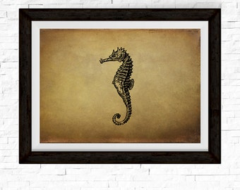 Seahorse Print, Seahorse Wall Decor, Sea Horse, Vintage Decor, Ocean Art, Ocean Decor, Ocean Animals, Vintage Art, Ocean Theme, Nautical
