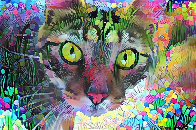 Tabby Cat Art Psychedelic Art Cat Art Print Tabby Cat image 0