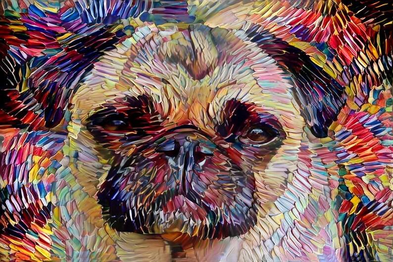 Pug Art Pug Gift Pug Print Dog Mom Gift Pet Portrait image 0
