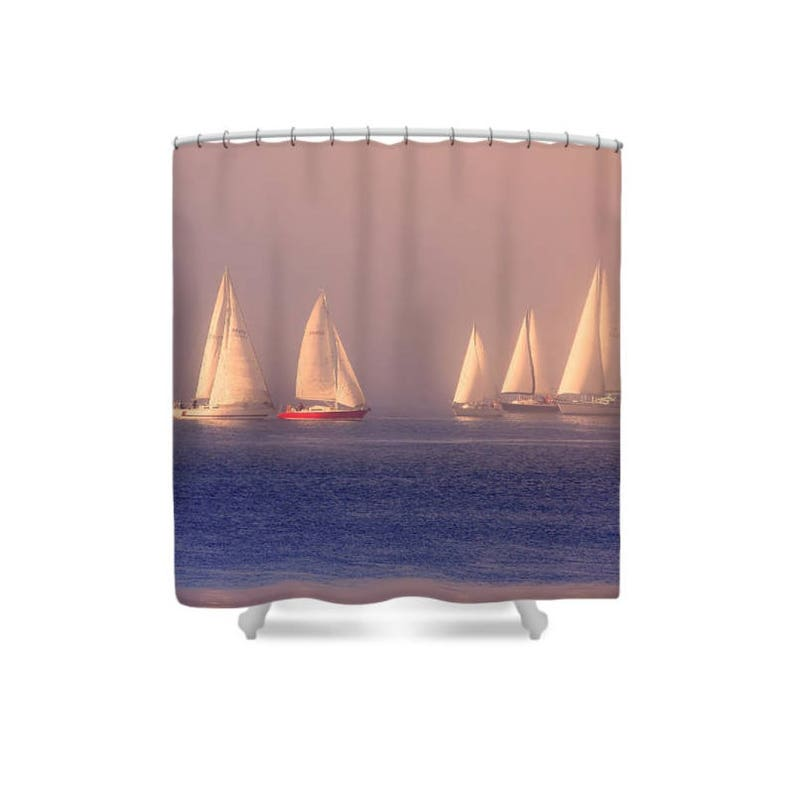 Boat Shower Curtain Sailboat Sailing Decor Gift For