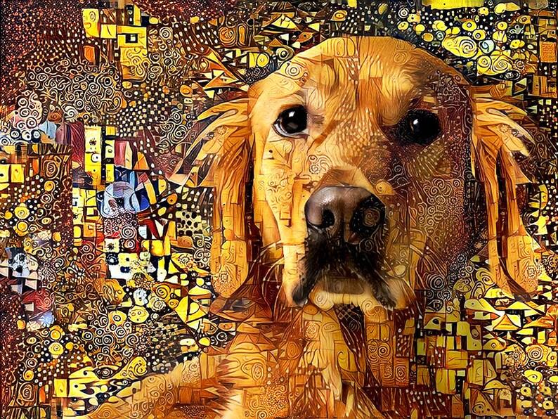 Golden Retriever Art Retriever Dog Golden Retriever Print image 0