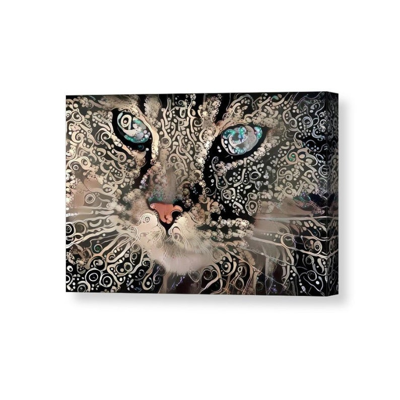 Cat Lover Art Cat Lover Gift Cat Wrapped Canvas Celtic Art image 0