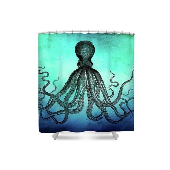 Octopus Shower Curtain Bathroom Sea Theme