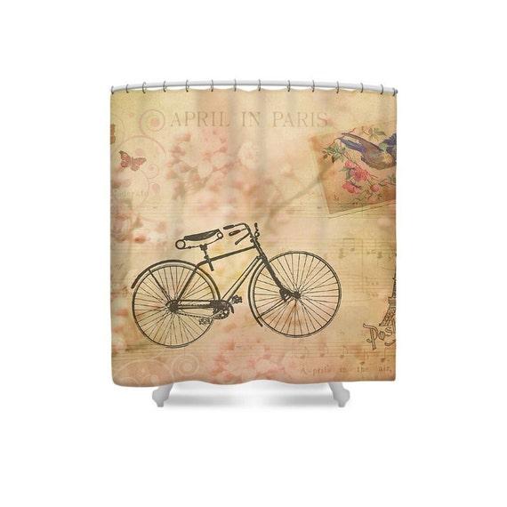 Paris Decor Bike Shower Curtain Pink French