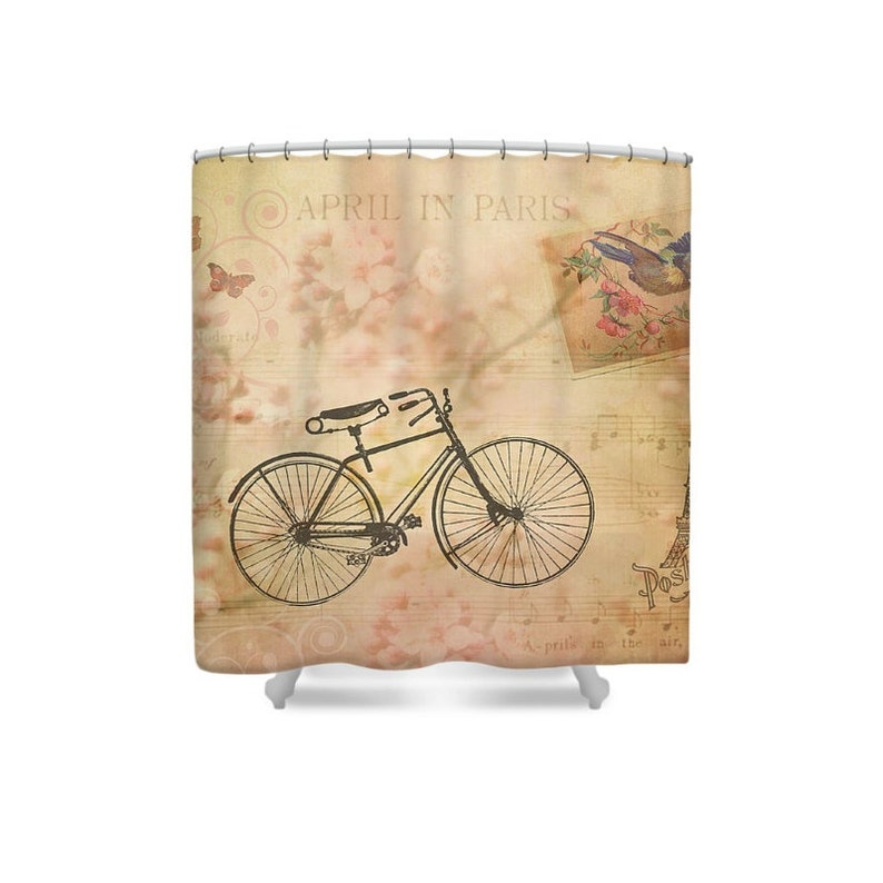 Paris Decor Bike Shower Curtain Pink French