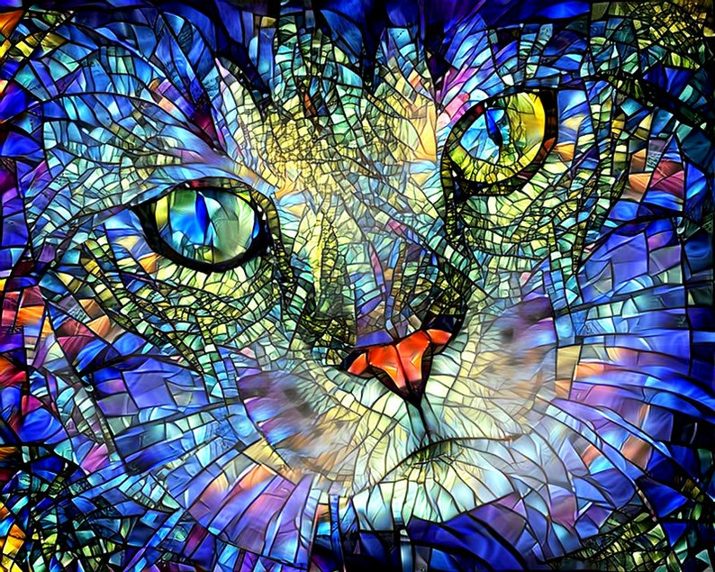 Colorful Cat Art Stained Glass Art Cat Print Cat Wall Art image 0