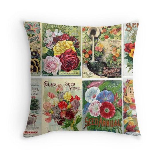 cadeau pour le jardinier flowers throw pillow jardin decor etsy. Black Bedroom Furniture Sets. Home Design Ideas