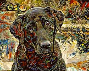 Black Labrador Painting, Black Lab Print, Labrador Retriever Art, Abstract Dog Print, Gift for Dog Lover