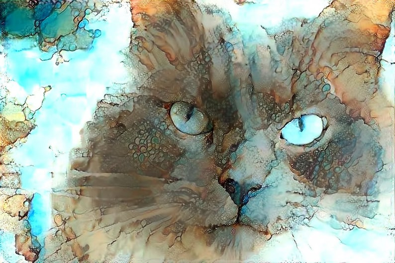 Cat Watercolor Print Cat Lover Gift Cat Blue Fine Art Wall image 0