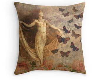 Shabby Chic Pillow, Dance Pillow, Dance Decor, Music Pillow, Music Cushion, Dance Cushion, Music Throw Pillow, Vintage Decor,Retro Decor