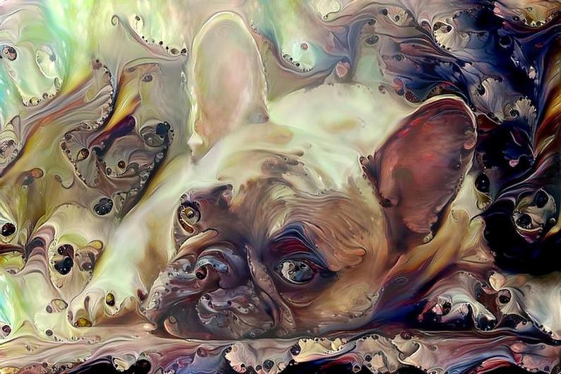 French Bulldog Art Print Frenchie Dog Wall Art Brown image 0