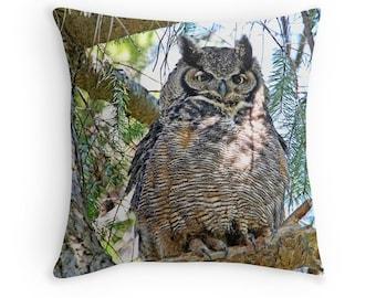 Owl Gift, Owl Cushion, Owl Pillow, Owl Decor, Great Horned Owl, Owl Photography,Owl Throw Pillow, Wildlife Cushion, Bird Decor, Nature Decor