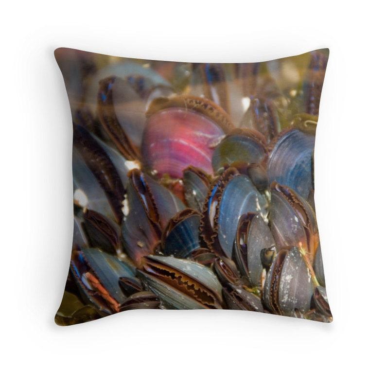 Mussel Shells Pillow Life Aquatic Beach Decor Underwater image 0