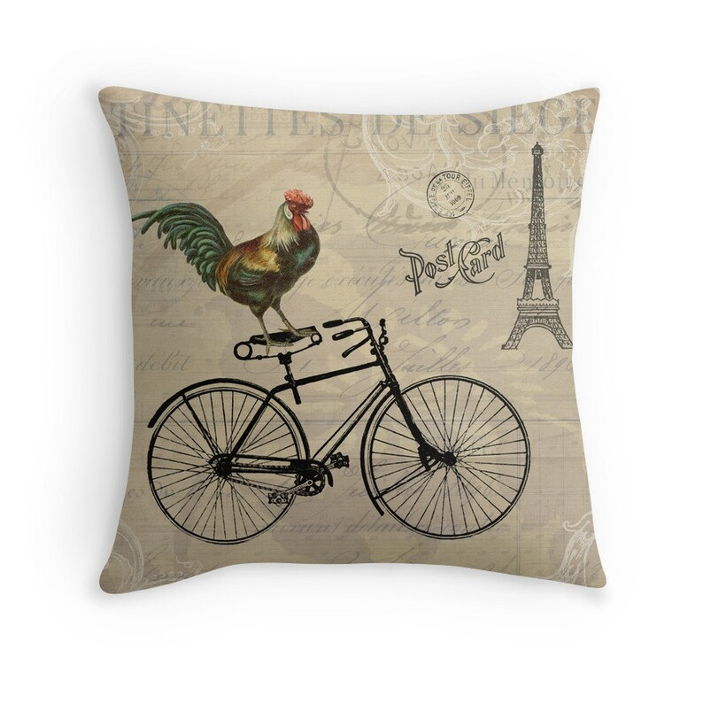 Shabby Chic Decor Bicycle Cushion Rooster Decor Bicycle image 0