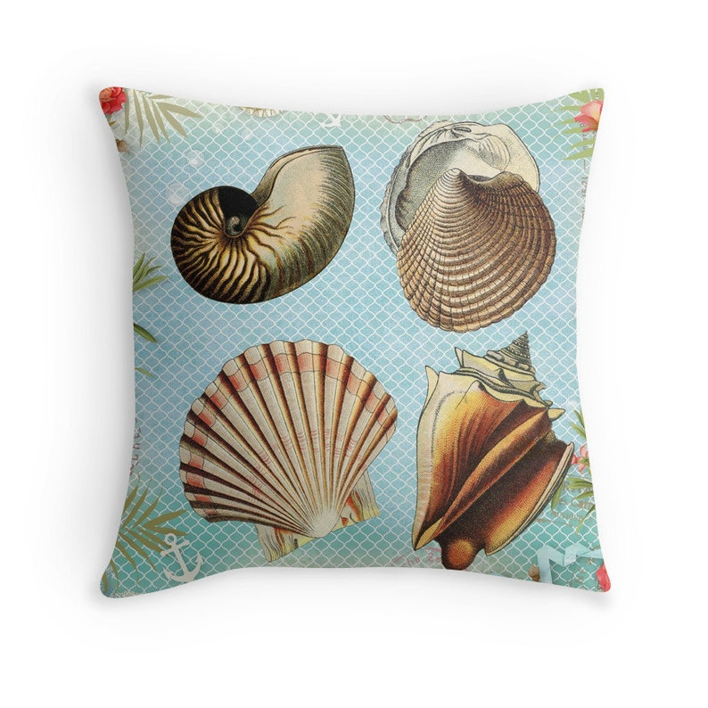 Beach Pillow Sea Shells Decor Seashells Cushion Beach image 0