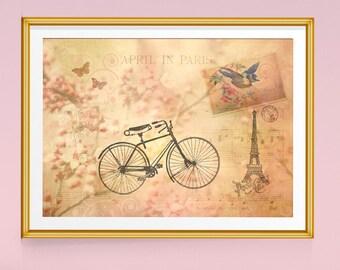 Paris Print, Bicycles, Paris Decor, Paris Art, Eiffel Tower Decor, Spring Decor, Bicycle Art, Bike Art, Cherry Blossoms, Vintage Prints