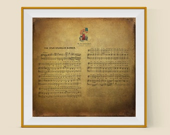 Patriotic Decor, Star Spangled Banner, Gift for Dad,  July 4th, USA, Song Lyrics Wall Art, Historical Print, Vintage Decor,Americana