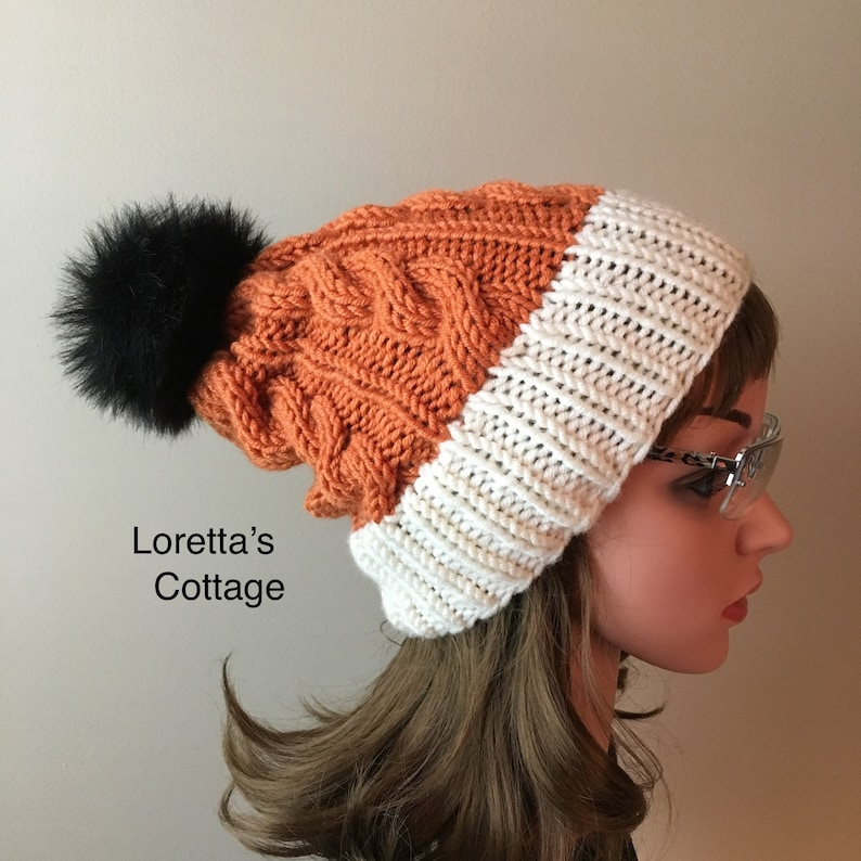 9d54a56c08a Orange Beanie Slouchy beanie Cabled Bobble hat Slouch hat