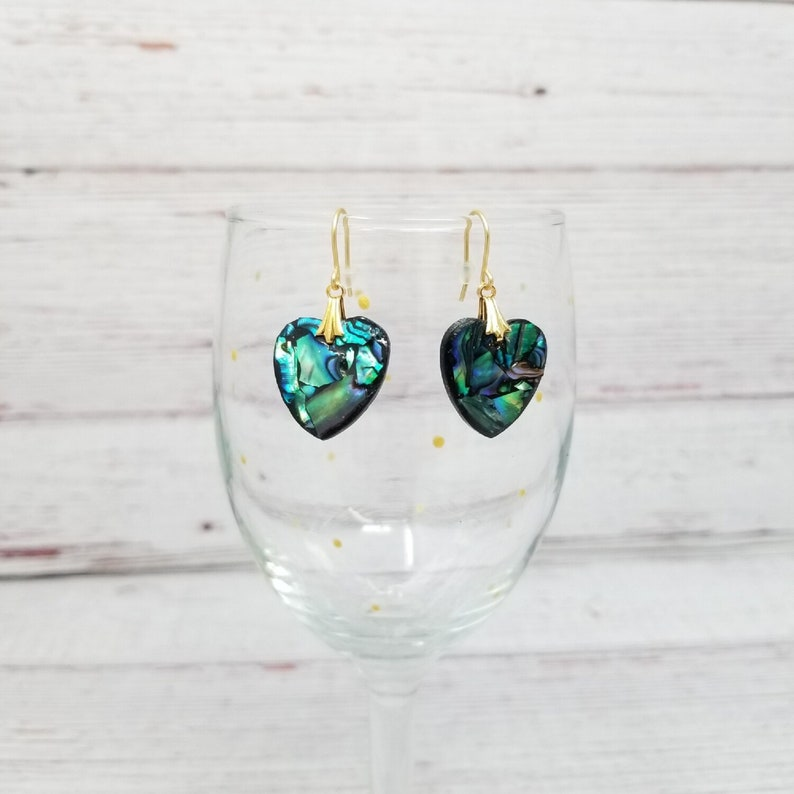 Polymer Clay Earrings Abalone Black Trim Heart Earrings with Gold Tone Hooks Fun Earrings Heart Charms Gifts for Mom Mother/'s Day Gift
