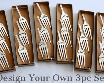 Rustic Custom Design Your Own Vintage Silverplate 3pc Fork Cheese Marker Set, Personalized - Silverware