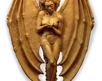"""Millennium Angel, Large 44"""" Winged Female High Relief Sculpture, Figurative Resin Sculpture, Wall Mounted Sculpture"""