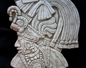 Historical Reproduction of Mayan Sculpture of Bird Jaguar in Battle Dress Late Classic period from Lintel 41, Yaxchilan, Chiapas, Mexico
