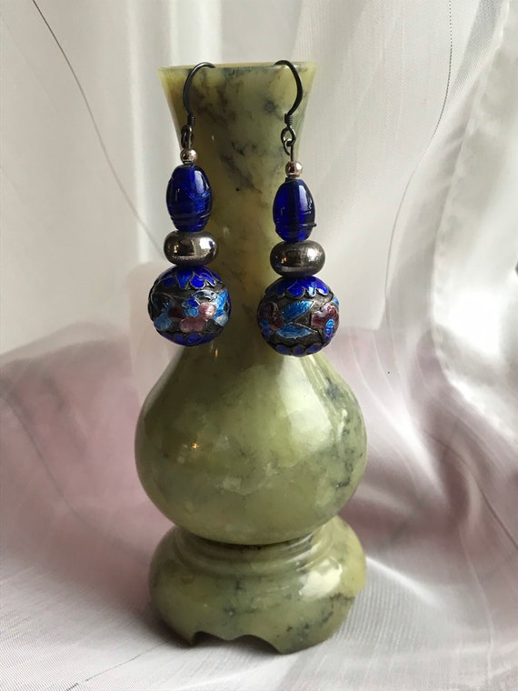 Jewellery Gift Rare Flapper Earrings Antique Chinese Cloisonn\u00e9 Dangle Earrings