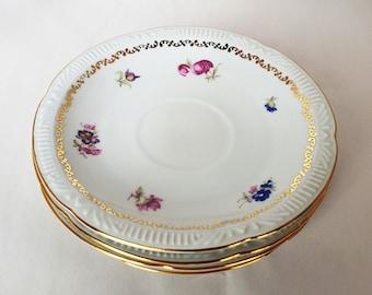 Vintage Set of 4 Chodziez Poland Gold Rim Pink Roses Side Plates